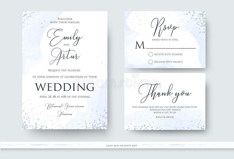En épousant invitez, merci, design de carte de rsvp réglé avec le wa abstrait illustration libre de droits