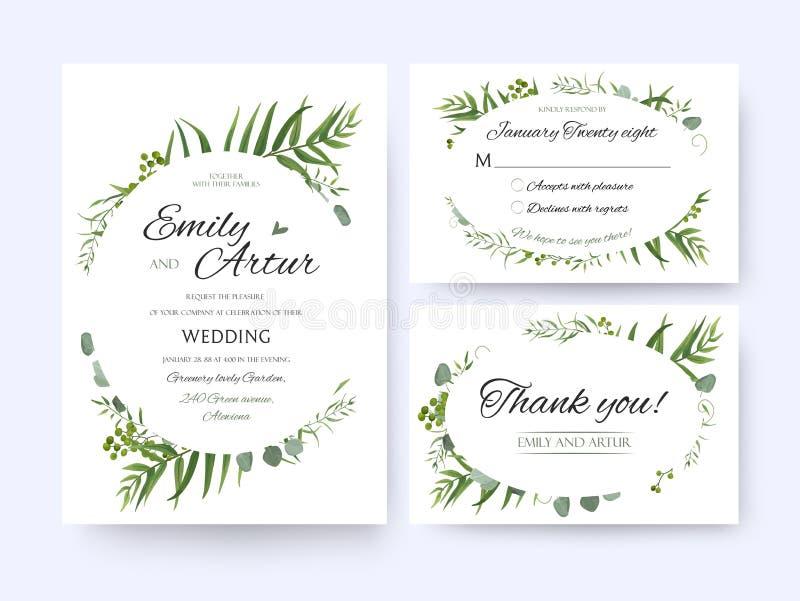 En épousant invitez, rsvp d'invitation vous remercient de carder le gre floral de vecteur illustration de vecteur