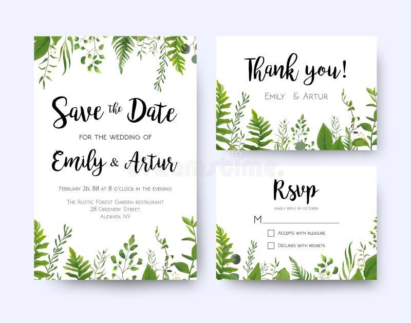 En épousant invitez, rsvp de menu d'invitation vous remercient de carder la flore de vecteur illustration stock