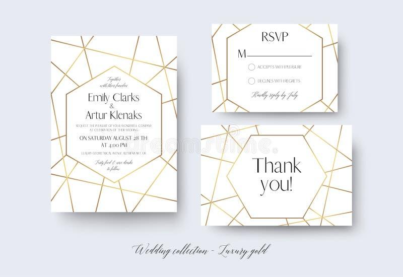 En épousant invitez, rsvp, menu, merci carde la conception sensible avec illustration de vecteur