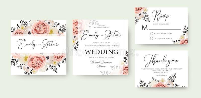 En épousant l'aquarelle florale invitez, invitation, font gagner la date, rsv illustration de vecteur