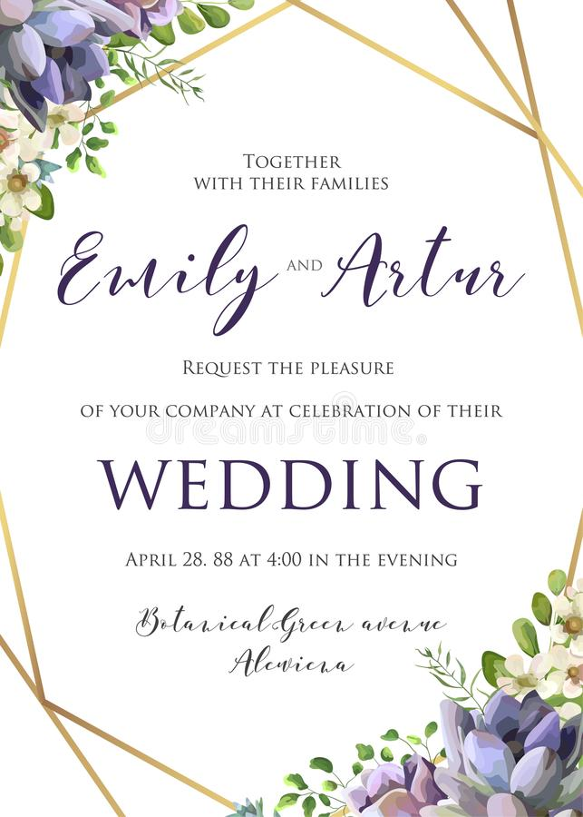 En épousant l'invitation florale, invitez, sauvez le calibre de date Vecto illustration libre de droits