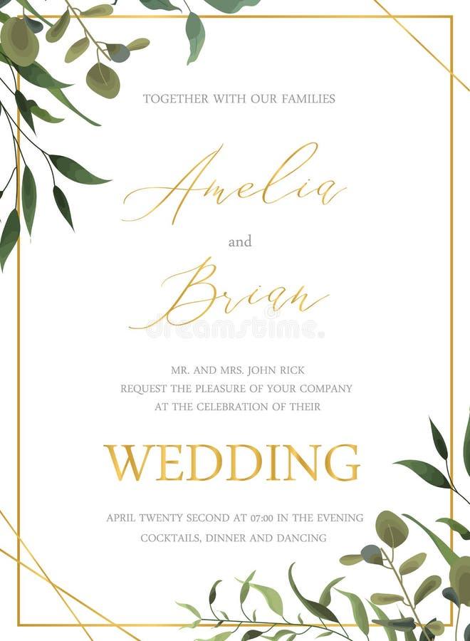 En épousant la carte d'or florale d'invitation sauvez la conception de date avec la feuille tropicale verte illustration stock