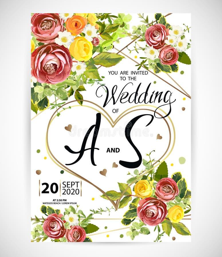 En épousant le calibre floral invitez Illustration de vecteur illustration stock