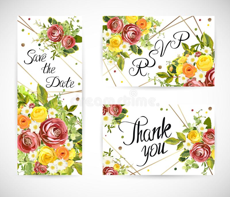 En épousant le calibre floral invitez Illustration de vecteur illustration libre de droits