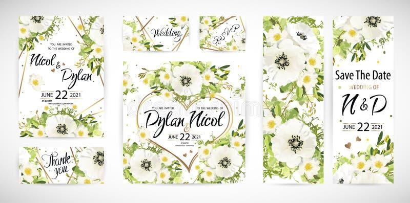 En épousant le calibre floral invitez Illustration de vecteur illustration de vecteur