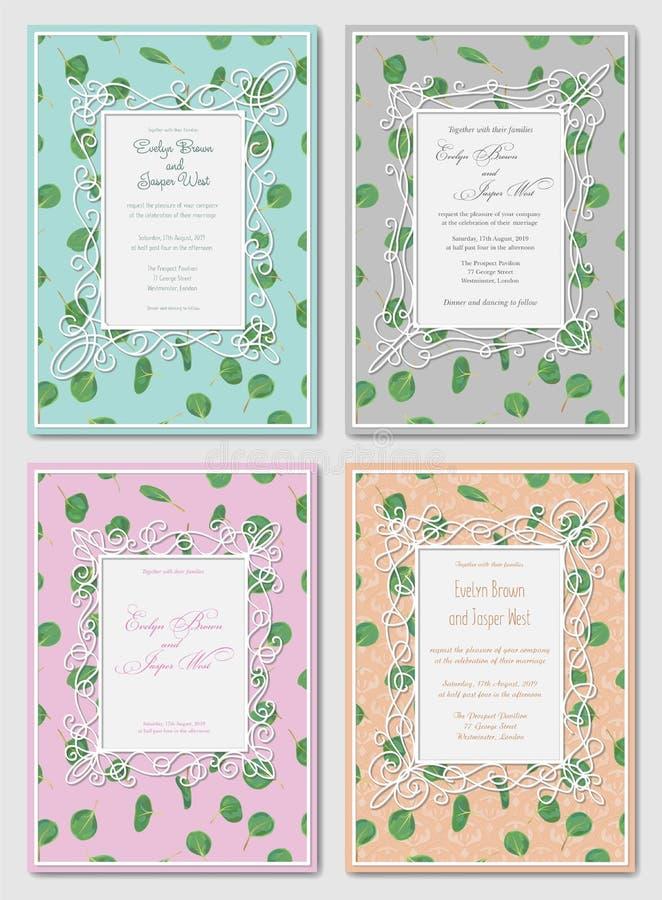 En épousant le double floral de style d'aquarelle invitez, invitation, économies illustration de vecteur