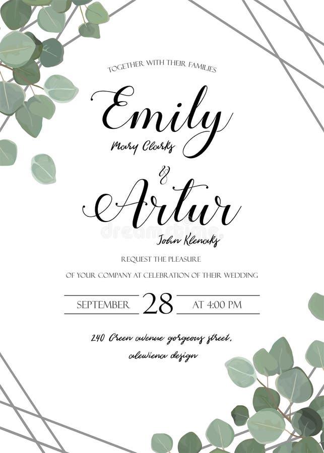 En épousant le style floral d'aquarelle invitez, invitation, sauvent le dat illustration stock