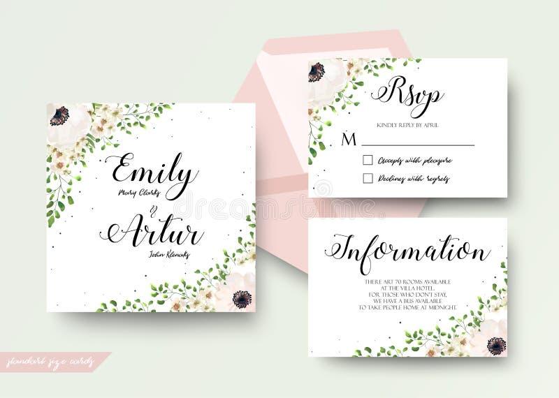 En épousant le style floral d'aquarelle invitez, rsvp, font gagner la date, tha illustration de vecteur