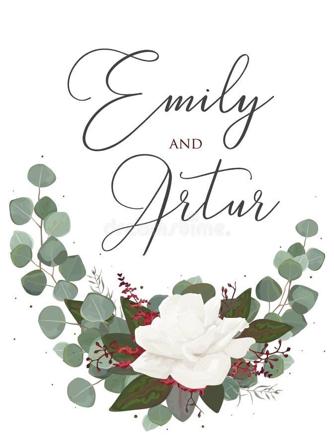 En épousant le style floral d'aquarelle invitez, sauvez la carte de date Desig illustration libre de droits