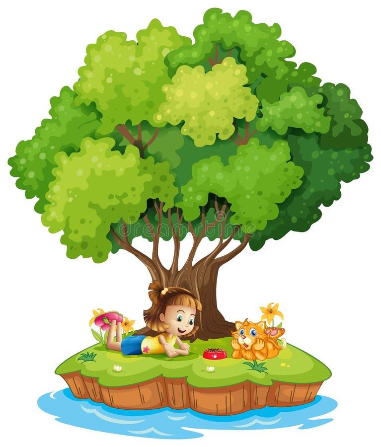 En ö med en flicka och en katt stock illustrationer