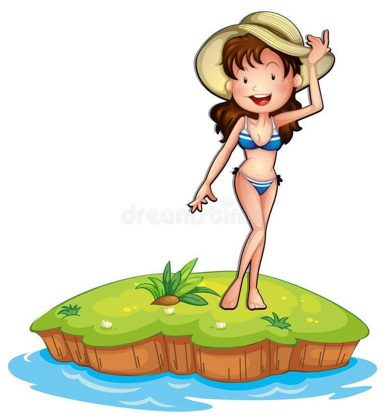 En ö med en flicka som bär en bikini royaltyfri illustrationer