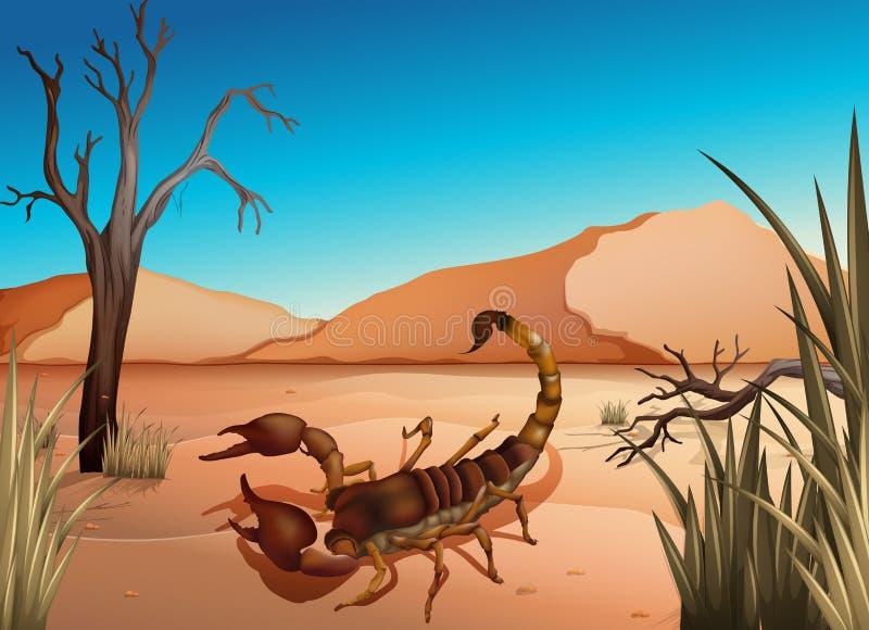 En öken med en skorpion stock illustrationer