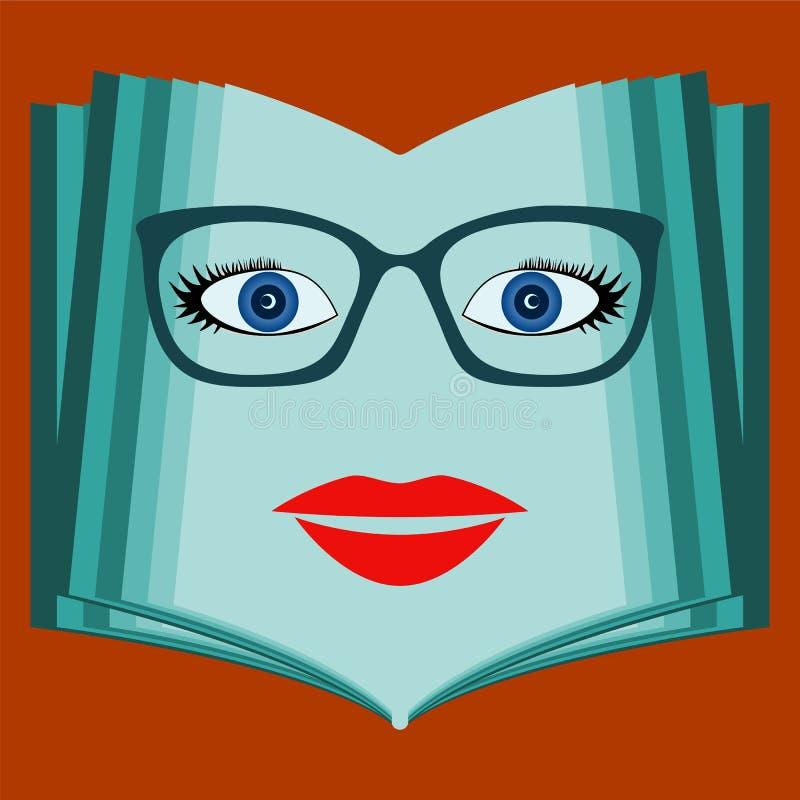 En öppen bok med en kvinnaframsida Samtalbok, arkiv stock illustrationer
