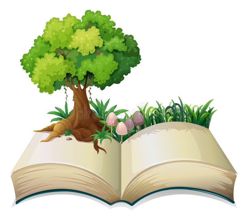 En öppen bok med ett träd royaltyfri illustrationer