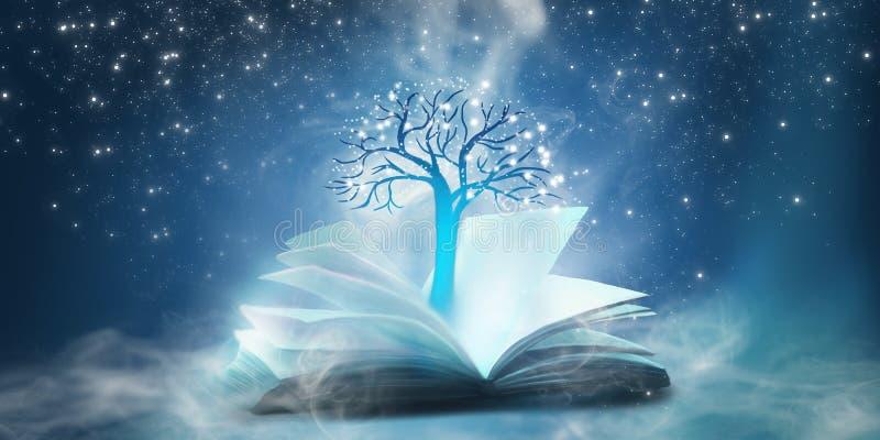 En öppen bok med en magisk fantasi Nattsiktsillustration med en bok royaltyfri illustrationer