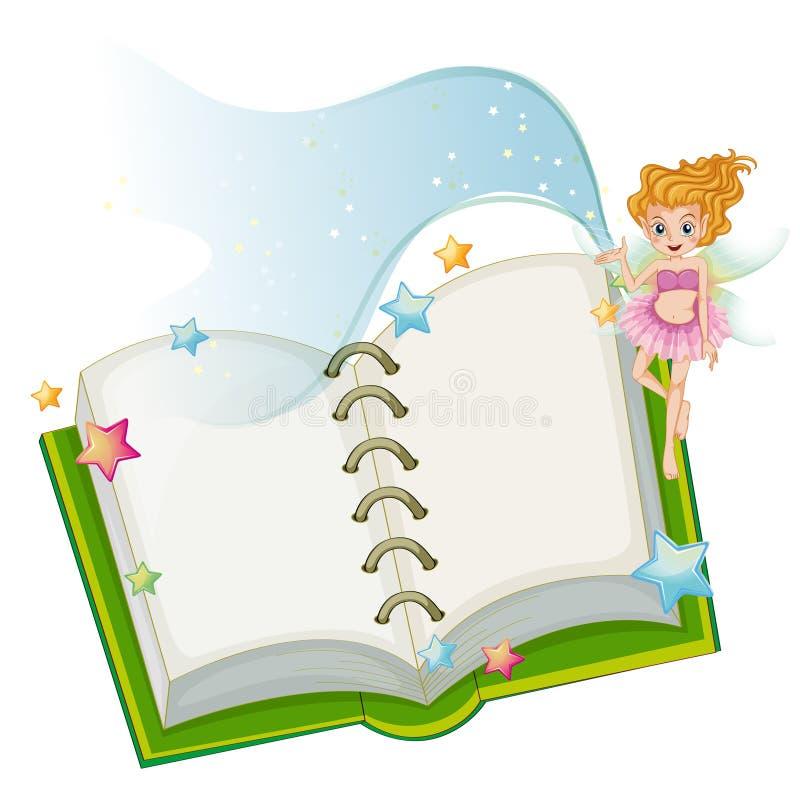 En öppen bok med stjärnor och en fe royaltyfri illustrationer