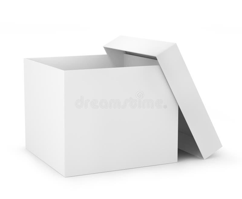 En öppen lådaask i vit färg (3d framför), royaltyfri illustrationer