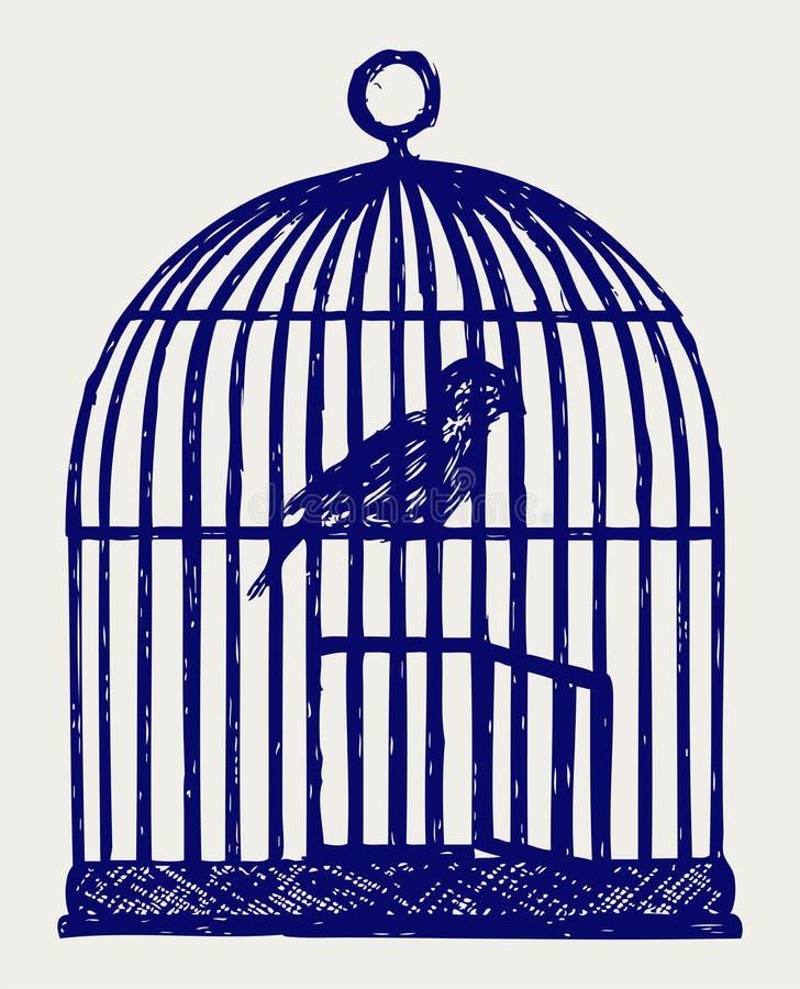 En öppen mässingsfågelbur och fågel stock illustrationer