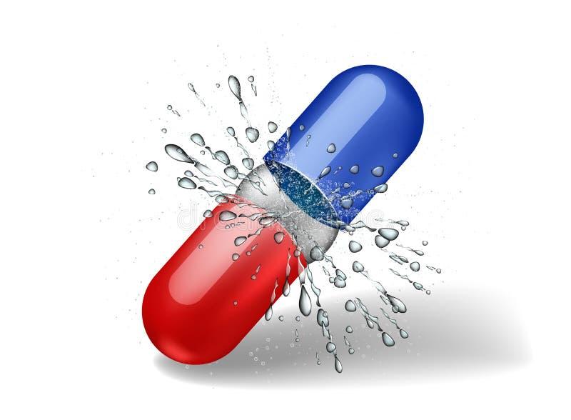 En öppen preventivpillerkapsel med en explosion från insidan royaltyfri illustrationer
