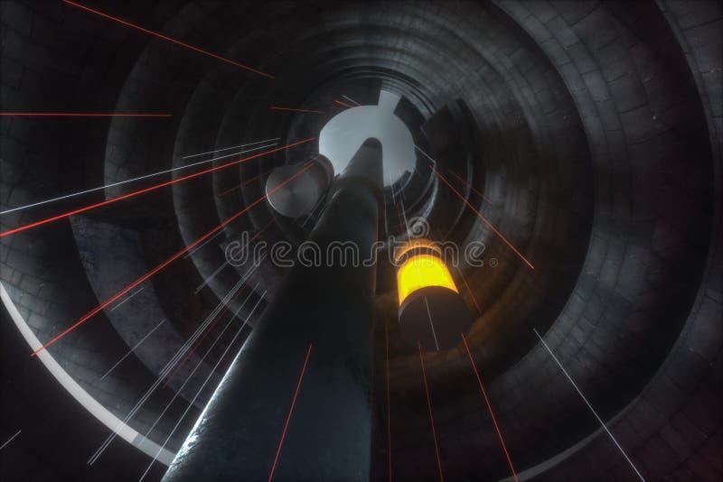 En övergiven rund tunnelbyggnad i mörker, med plats av science, tolkning 3d stock illustrationer