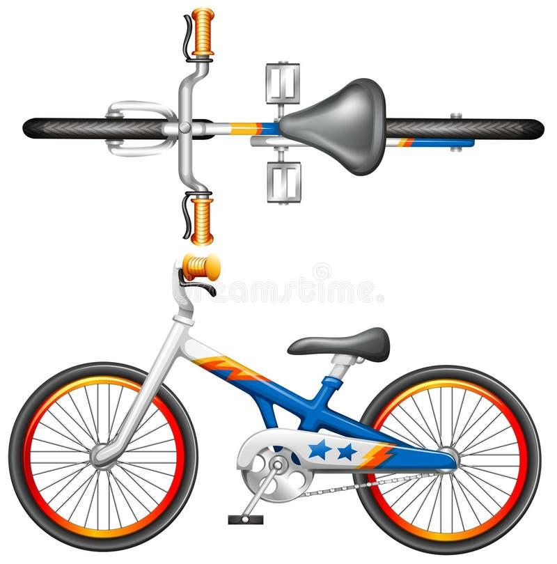 En överkant- och sidosikt av en cykel stock illustrationer