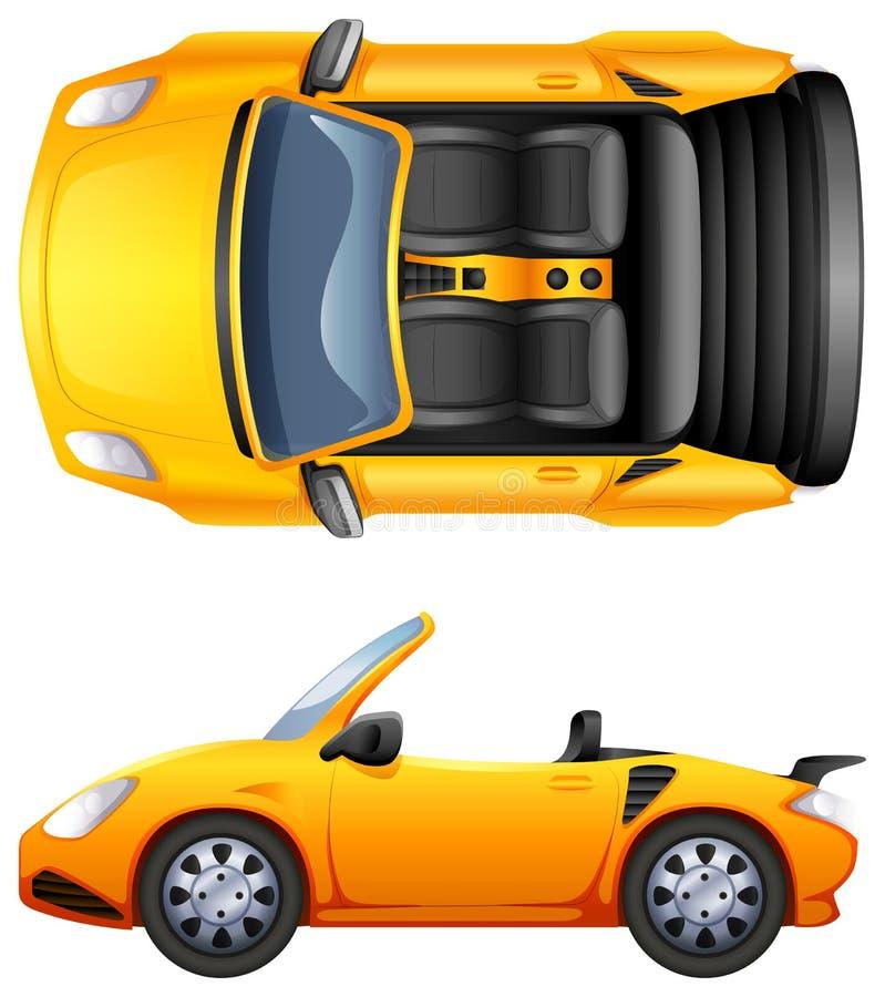 En överkant- och sidosikt av en sportbil stock illustrationer