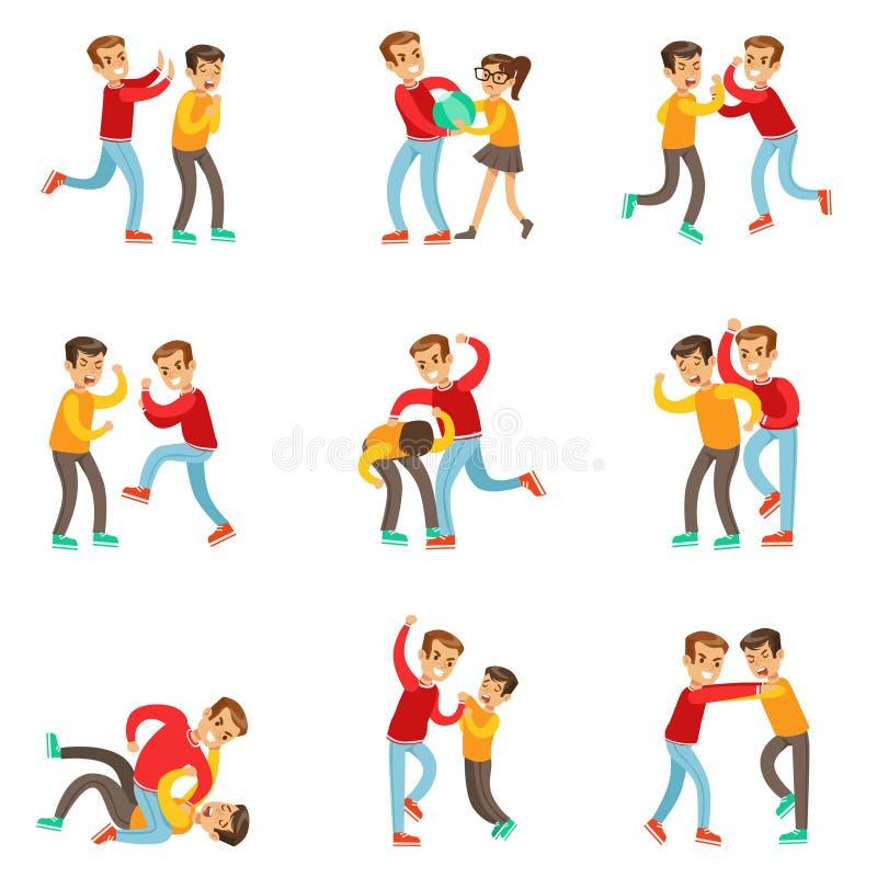 En översittare som förtrycker och trakasserar andra ungar med offren som tillbaka slåss eller lossar upp kampen som den är utslag vektor illustrationer