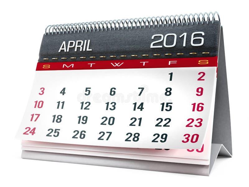En abril de 2016 calendario de escritorio imagen de archivo libre de regalías