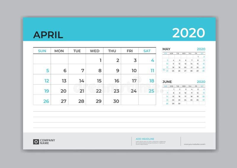 EN ABRIL DE 2020 plantilla, calendario de escritorio por 2020 años, comienzo de la semana el domingo, diseño del planificador, ef stock de ilustración