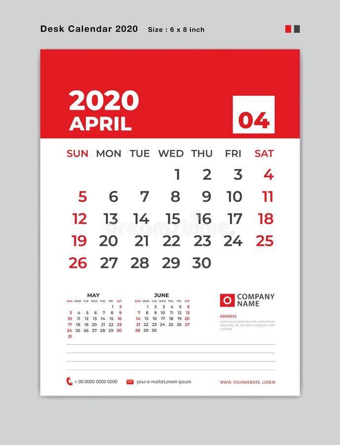 EN ABRIL DE 2020 plantilla del año, calendario de escritorio por 2020 años, comienzo de la semana el domingo, planificador, efect libre illustration