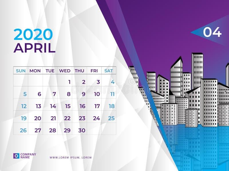 EN ABRIL DE 2020 plantilla del calendario, talla 8 x de la disposición de calendario de escritorio 6 pulgadas, diseño del planifi ilustración del vector