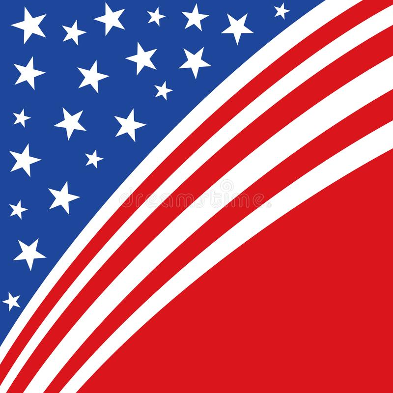 En abstrakt amerikansk patriotisk illustration av diagonalband och stjärnor i rött och blått vektor illustrationer