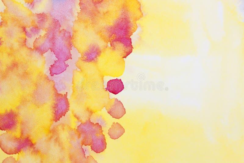 En abstrakt bakgrund för vattenfärgwaldorfmålning med våta prickar och fläckar Ljus konstnärlig hand målad vibrerande textur stock illustrationer