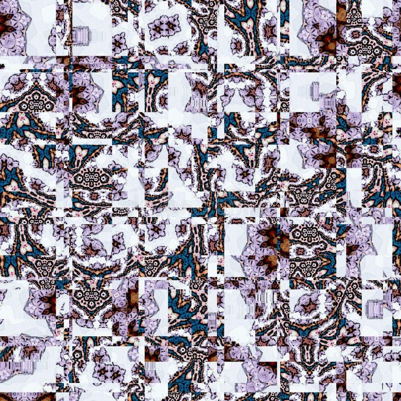En abstrakt begrepp snedvriden texturbakgrundsmodell av fyrkanter, cirklar och tegelplattor i mjuka färger på vit bakgrund stock illustrationer