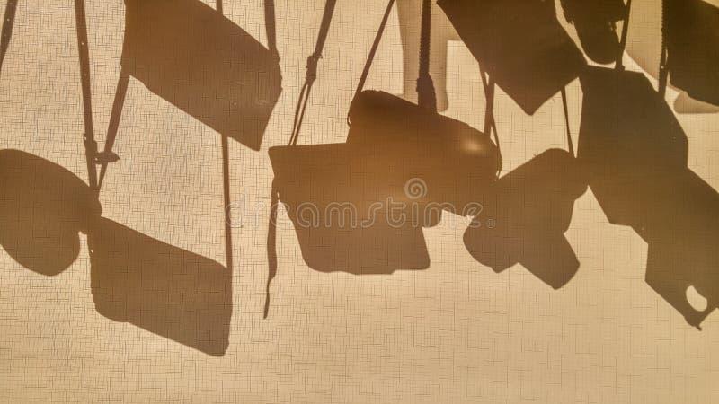 En abstrakt begreppfotokamera cases konturer på en tygrullgardin Sol som skiner till och med fönstret som gör monokromma skuggor  royaltyfria bilder