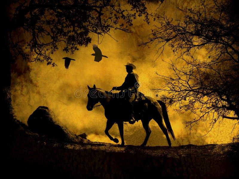 En abstrakt cowboyridning i bergen med träd, galanden som över flyger, och en texturerad vattenfärggulingbakgrund royaltyfri foto