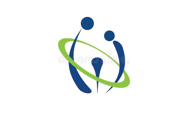 En abstrakt logo av föräldrar och barnet för att uppfostra avsikter vektor illustrationer