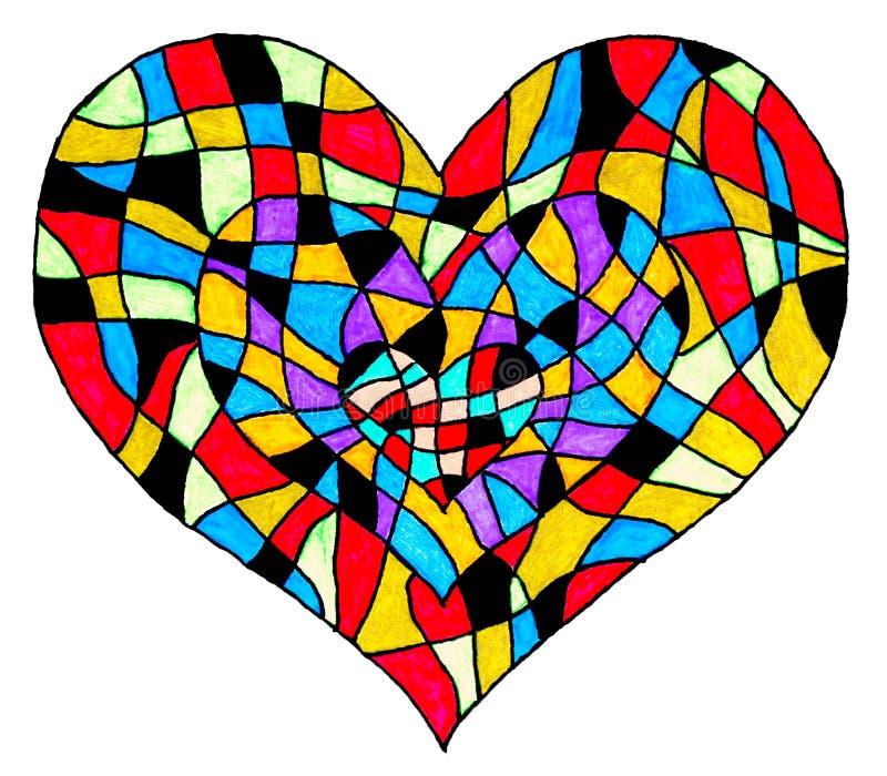 En abstrakt teckning av tre hjärtor vektor illustrationer