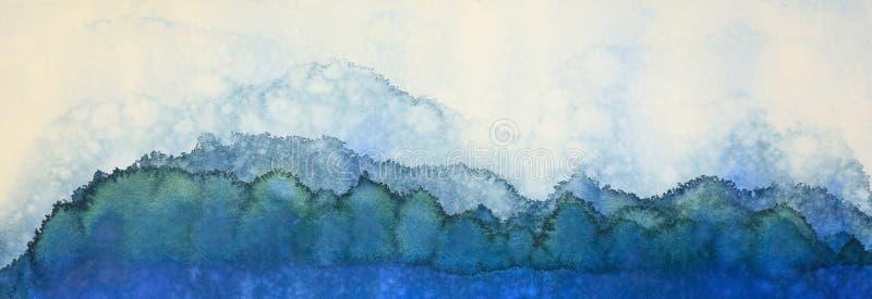 En abstrakt vattenfärgmålning i skuggor av blått av berg, himmel och sjöar vektor illustrationer