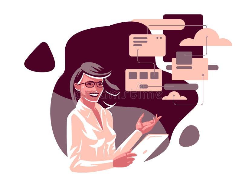 En affärskvinna med en minnestavla vektor illustrationer