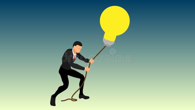 En affärsman drar en jätte- ljus kula genom att använda ett rep intressera illustrationer av idéer, så att de inte flyr få ett br royaltyfri illustrationer