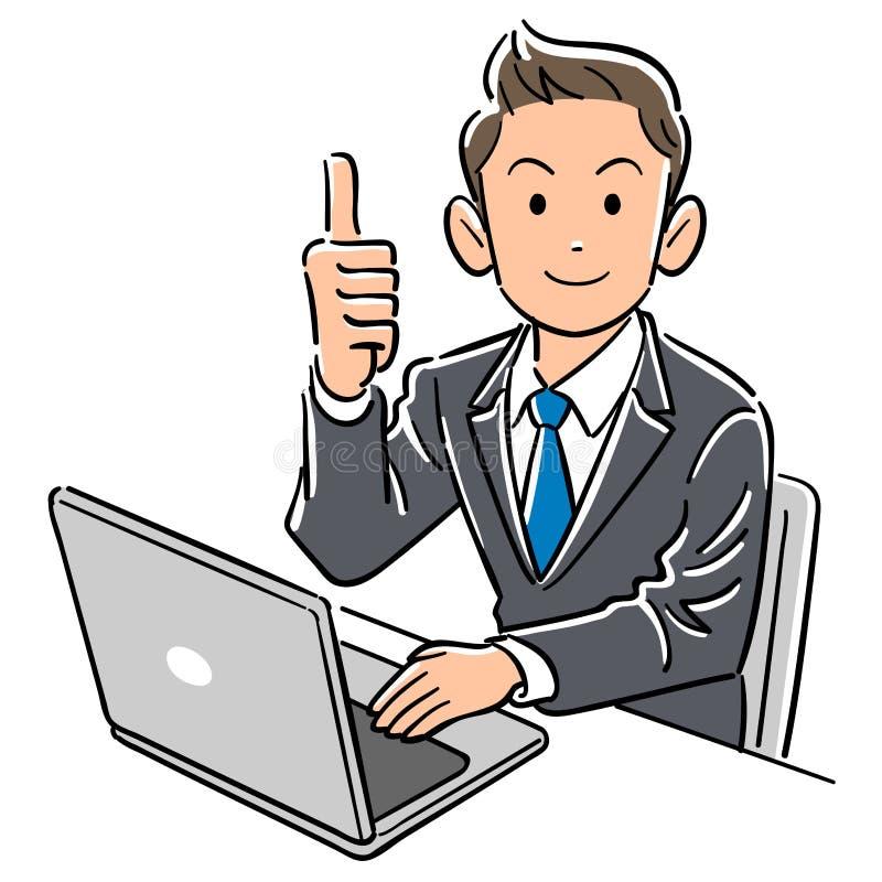 En affärsman fungerande tummar för en persondator upp royaltyfri illustrationer