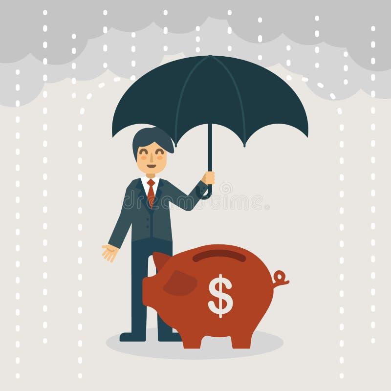En affärsman med paraplyet som skyddar spargrisen royaltyfri illustrationer