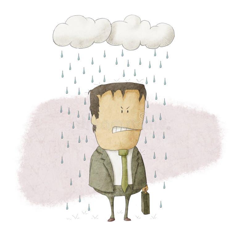 Affärsmannen regnar under moln vektor illustrationer