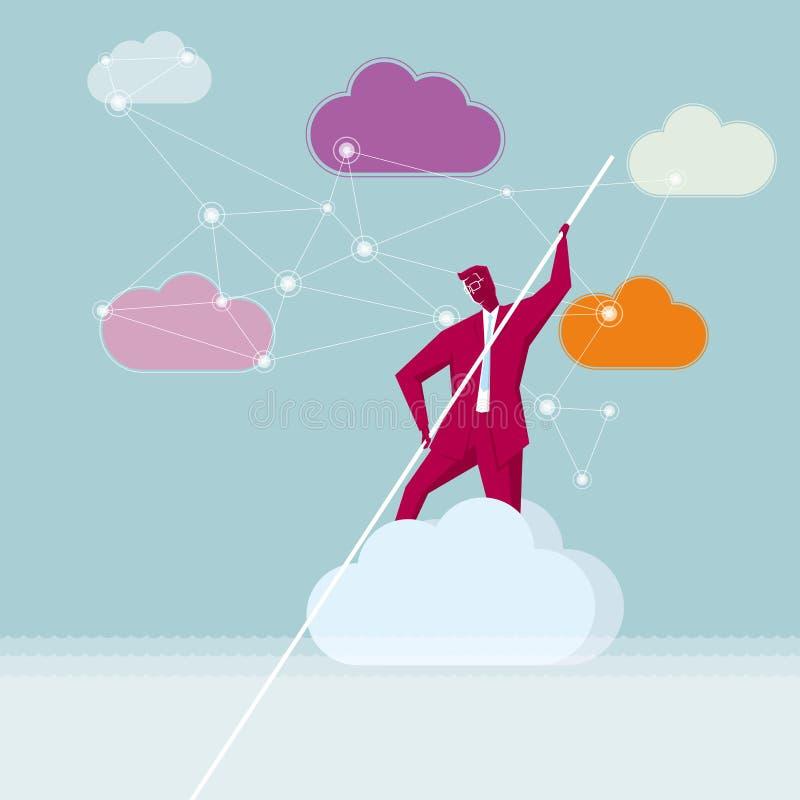 En affärsman ror i molnen royaltyfri illustrationer
