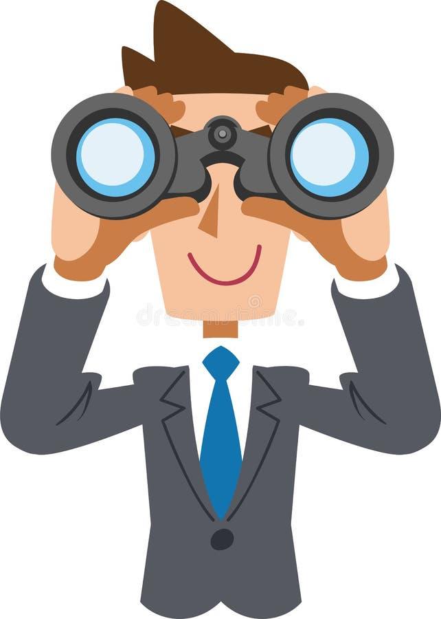 En affärsman som bär ett blått band, ser in i kikare stock illustrationer