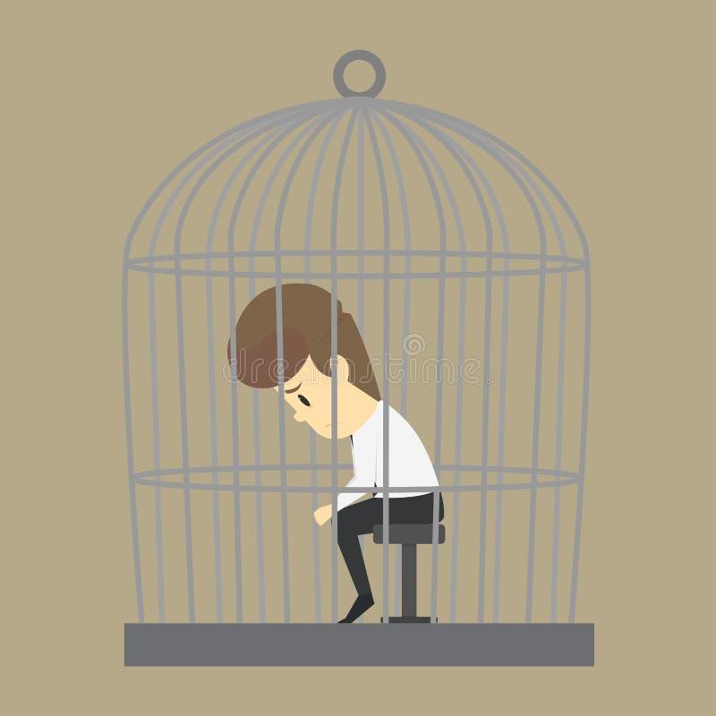 En affärsman som fångas i en bur, utan frihet vektor illustrationer