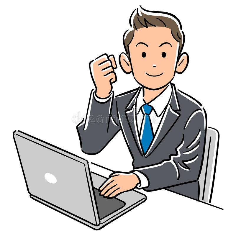 En affärsman som fungerar en persondator, gör en paus stock illustrationer