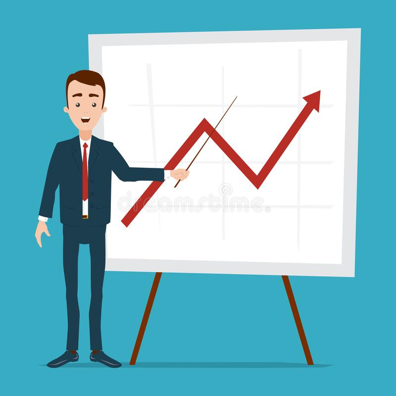 En affärsman står nära schemat med en pekare Linjär graf av nedgång och löneförhöjningen stock illustrationer